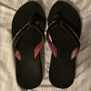 Women's Zebra Flip Flops Used Size 7 Well Worn